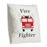 Fire Fighter Burlap Throw Pillow