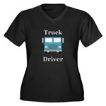 Truck Driver Women's Plus Size V-Neck Dark T-Shirt