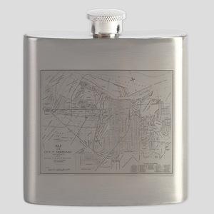 Vintage Map of Savannah Georgia (1910) Flask