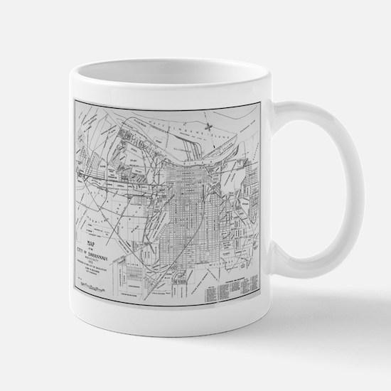Vintage Map of Savannah Georgia (1910) Mugs