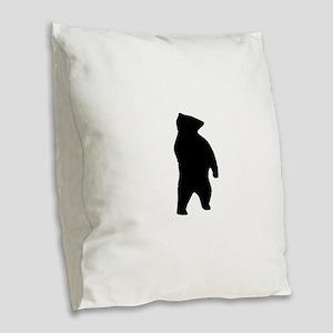 Bear Silhouette Burlap Throw Pillow