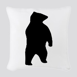 Bear Silhouette Woven Throw Pillow