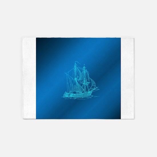 blue ship 5'x7'Area Rug