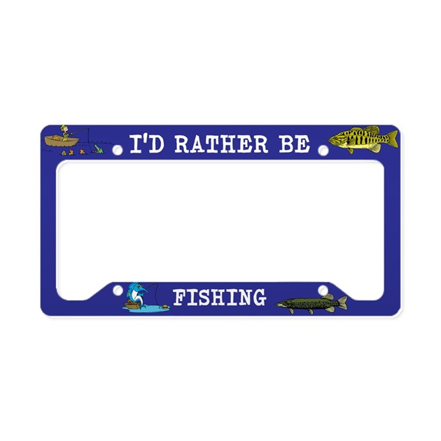 I 39 d rather be fishing license plate holder by designsbyharmony for Fishing license plate