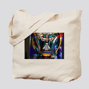 stained glass window blue Tote Bag