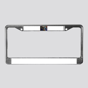 stained glass window blue License Plate Frame