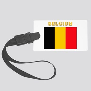 Flag Of Belgium W Txt Large Luggage Tag