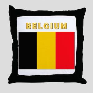 Flag Of Belgium W Txt Throw Pillow