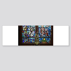 stained glass window with statue of Bumper Sticker