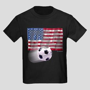 Soccer Flag USA Kids Dark T-Shirt