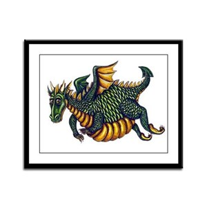 Portly Green Dragon Framed Panel Print