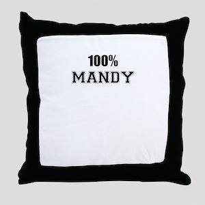 100% MANDY Throw Pillow