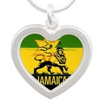 Jamaican Lion of Judah Silver Heart Necklace