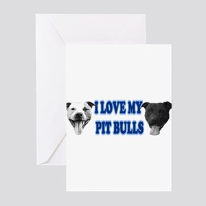 I Love My PBs (blue) Greeting Cards (Pk of 10)