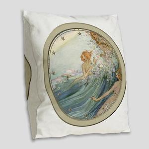 Mermaids - Sea Fairies Burlap Throw Pillow