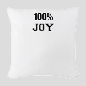 100% JOY Woven Throw Pillow