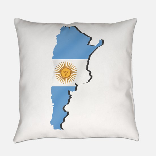 Argentina Flag Map Everyday Pillow