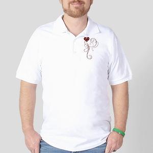 Red Glitter Heart Golf Shirt