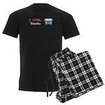 I Love Trucks Men's Dark Pajamas