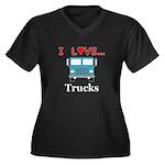 I Love Truck Women's Plus Size V-Neck Dark T-Shirt
