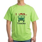 I Love Trucks Green T-Shirt