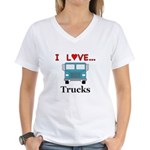 I Love Trucks Women's V-Neck T-Shirt