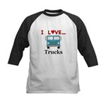 I Love Trucks Kids Baseball Jersey