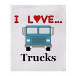 I Love Trucks Throw Blanket