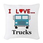 I Love Trucks Woven Throw Pillow