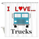 I Love Trucks Shower Curtain
