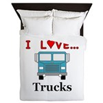 I Love Trucks Queen Duvet