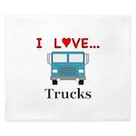 I Love Trucks King Duvet