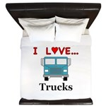 I Love Trucks King Duvet
