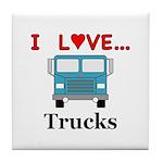 I Love Trucks Tile Coaster