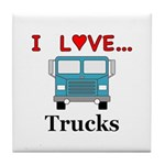 I Love Trucks Tile Coaster