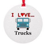 I Love Trucks Round Ornament