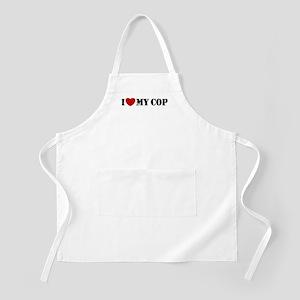 I Love My Cop BBQ Apron