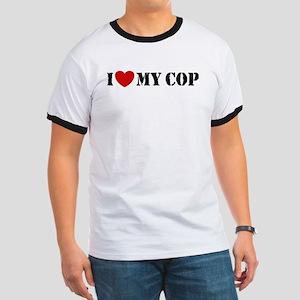 I Love My Cop Ringer T
