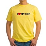 I Love My Cop Yellow T-Shirt