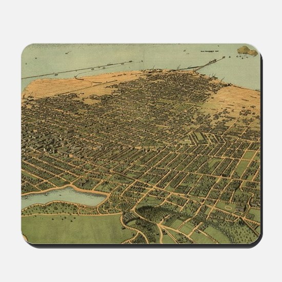 Vintage Pictorial Map of Oakland Califor Mousepad