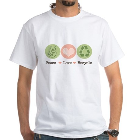 Recycling Peace Love Recycle White T-Shirt
