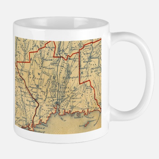 Vintage Map of New Haven County CT (1846) Mugs