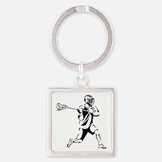 Lacrosse Player Action Square Keychain