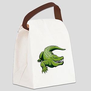Green Alligator Canvas Lunch Bag