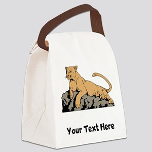 Cougar Laying On Rock (Custom) Canvas Lunch Bag