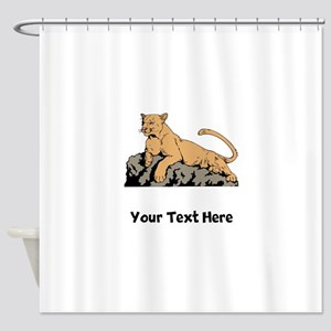 Cougar Laying On Rock (Custom) Shower Curtain
