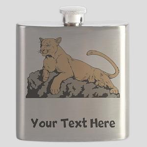 Cougar Laying On Rock (Custom) Flask