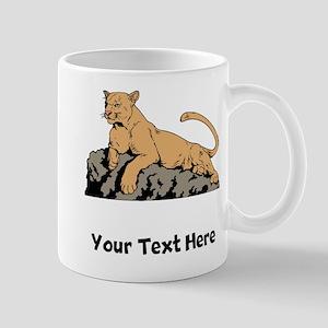 Cougar Laying On Rock (Custom) Mugs