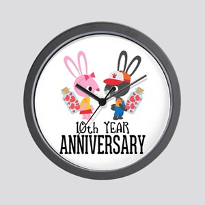 10th Anniversary Couple Bunnies Wall Clock