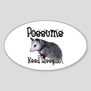 Possums Need Love Oval Sticker